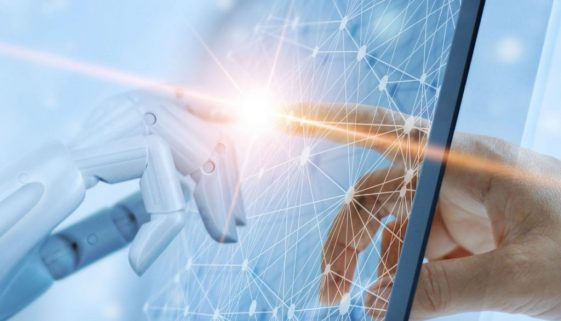 Hands of robot and human touching on global virtual network conn